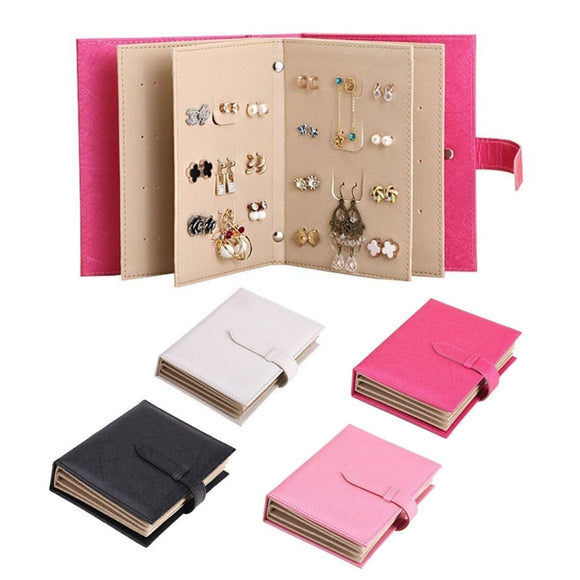 Leather Earring Book Eardrop Display Organizer Ear Studs Portable Storage Book