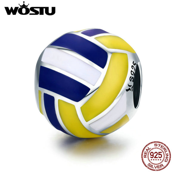 WOSTU 100% 925 Sterling Silver Volleyball Love Sport Ball Charm Beads fit Original Charm Bracelet DIY Jewelry Making CQC448