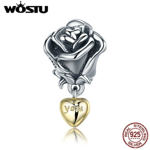 WOSTU Real 925 Sterling Silver Rose Flower with You in Heart Dangle Charm fit Beads Bracelet Jewelry Valentine Day Gift CQC455