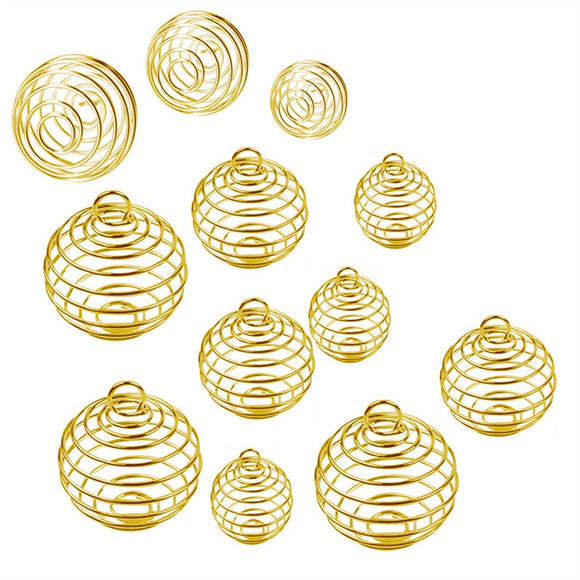 30Pcs Plated Spiral Bead Cage Charms Pendants for DIY Jewelry Making