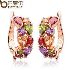 BAMOER   Gold Color Unique Stud Earrings with Multicolor AAA Zircon Stone Nickel, Cadmium free Jewelry JIE020