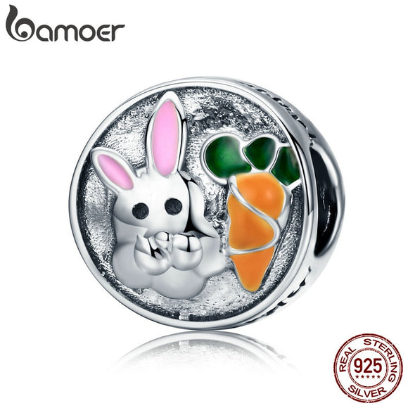 BAMOER 100% 925 Sterling Silver Easter Day Adorable Rabbit and Carrot Charm fit Women Charm Bracelet & Necklace Jewelry SCC576