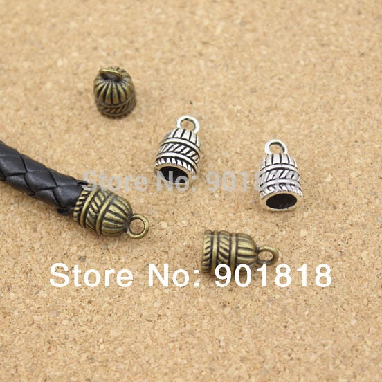 20 pcs/lot hole size 5.5mm fitting round leather metal end Clasps Jewelry Findings F863