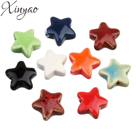 XINYAO 20pcs/lot 14mm Star Ceramic Beads Fit Bracelet Necklace Findings Fashion Porcelain Spacer Beads For DIY Jewelry Making
