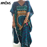 Aproms Traditional African Kaftan Dresses 2018 Women Summer Loose Ethnic Dashiki Dress Robe Sexy Bohemian Long Maxi Caftan Dress