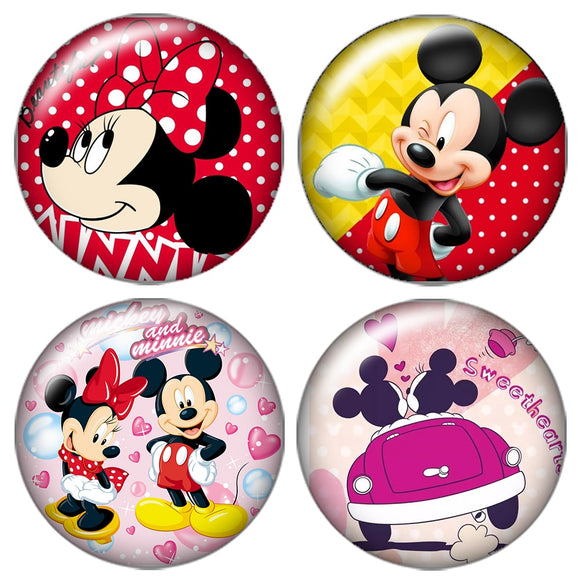 New ZB0437 Round Beauty Lovely mouse 10pcs mixed 18mm/20mm glass cabochon&snap buttons DIY jewelry wholesale