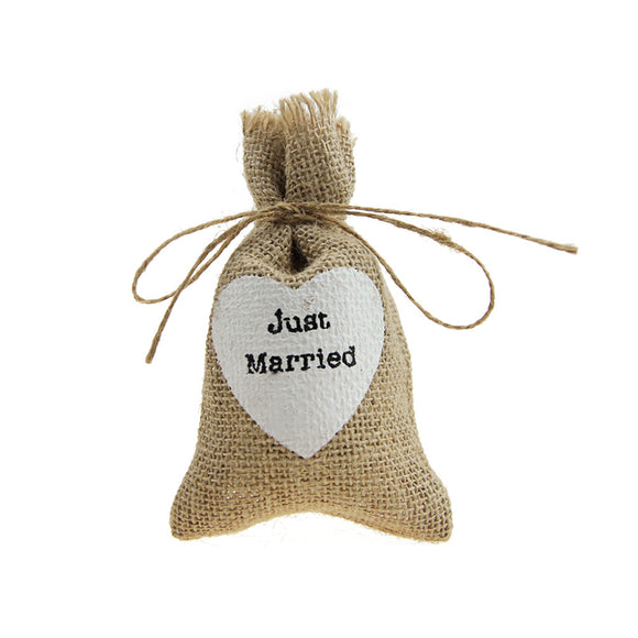 10Pcs Burlap Bags Jute Sack Candy Gift Pouch with Just Married Print Wedding Party Favors Supplies