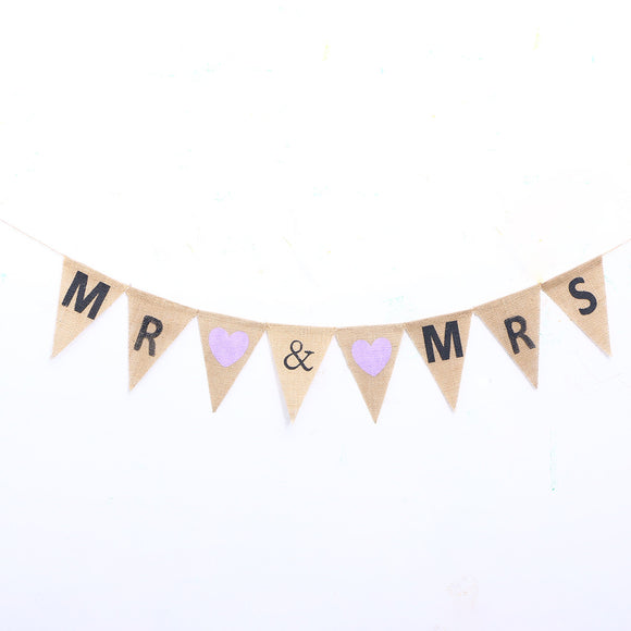 2M MR & MRS Wedding Hanging Banner with Heart Burlap Pennant Banner Wedding Party Supplies