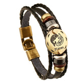Zodiac Signs Black Gallstone Leather Bracelet