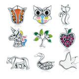 WOSTU New Style 925 Sterling Silver Licorne, Owl, Cat, Tree Of Life Petites Charm Fit Original Floating Necklace DIY Jewelry