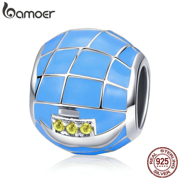 BAMOER 100% 925 Sterling Silver Summer Collection Ocean Voyage Blue Enamel Beads fit Women Charm Bracelet DIY Jewelry SCC700