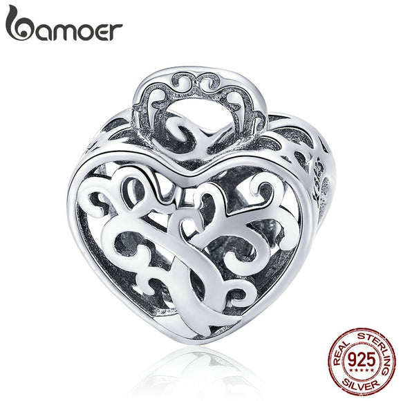BAMOER 925 Sterling Silver Openwork Tree Leaves Leaf Heart Pave Beads fit Women Charm Bracelets Necklaces DIY Jewelry SCC726