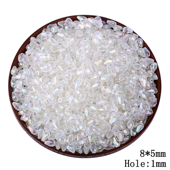 300pcs/lot 5*8MM Transparent Cut Faceted Plastic DIY Water Drop Beads Wholesale Tear Drop Hole Beads Kids Jewelry Accessories