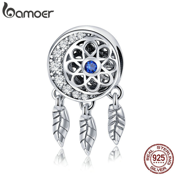 BAMOER 100% 925 Sterling Silver Moon Shape Dream Catcher Trendy Charm Beads fit Charm Bracelets & Necklaces DIY Jewelry SCC718