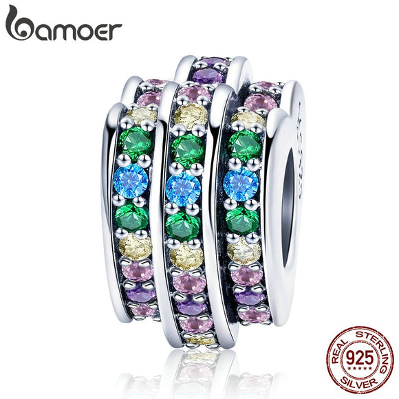 BAMOER 100% 925 Sterling Silver Colorful Crystal Heart CZ Charm Beads fit Charm Bracelets & Chain Necklaces DIY Jewelry SCC725