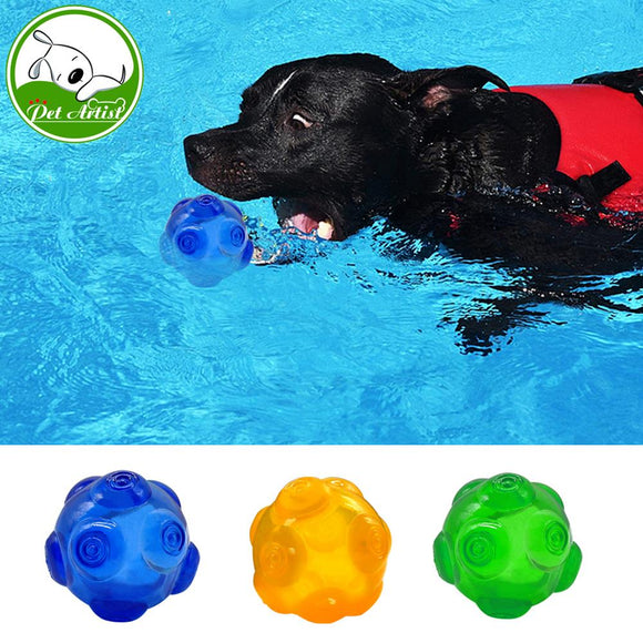 Chew Dog Toys Squeaky Waterproof Ball Training Tooth Cleaning Toy For Pets 3 Colors Blue Green Yellow