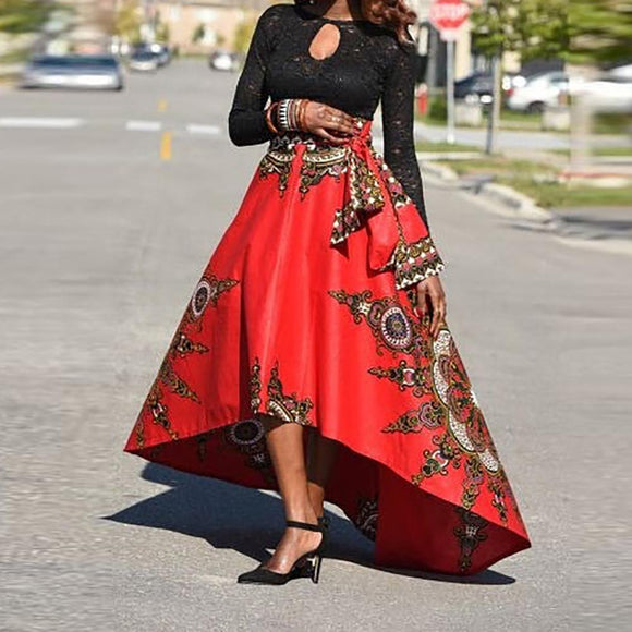 New African Vintage Skirt Fashion Short Front Long Back Irregular Ethnic Pattern Skirts Bazin Riche Faldas Largas Mujer Verano