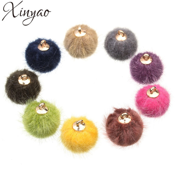 XINYAO 24pcs/lot 15mm Fur Ball Charms Fit Earring Necklace Bracelet Pompon Ball Beads Pendant For DIY Jewelry Making Findings