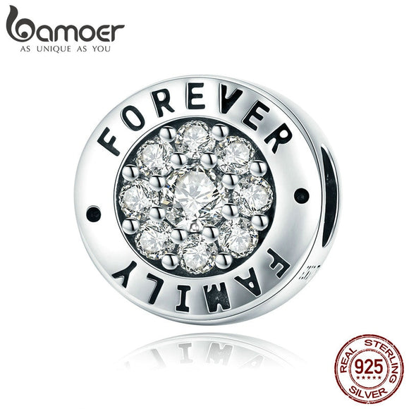 BAMOER Fashion 925 Sterling Silver Forever Family Round Dazzling CZ Charm Beads fit Women Charm Bracelet DIY Jewelry SCC814