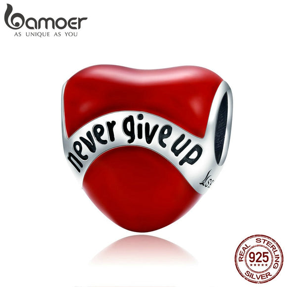 BAMOER Genuine 925 Sterling Silver Red Enamel Beads Never Give Up Heart Charm fit Women Bracelet & Necklaces DIY Jewelry SCC808