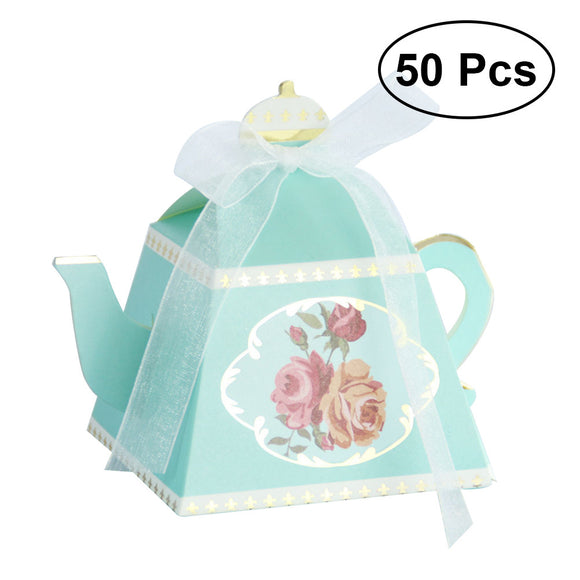 50pcs Classic Floral Teaport Shape Candy Box Hot Stamping Party Favor Boxes Craft Paper Candy Holders Gift Box