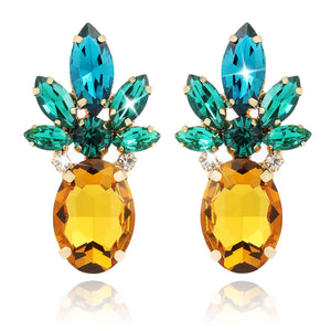 2pcs Cute Yellow Pineapple Earrings Studs for Women, Jewelry Hawaiian Vacation, With Gift Box