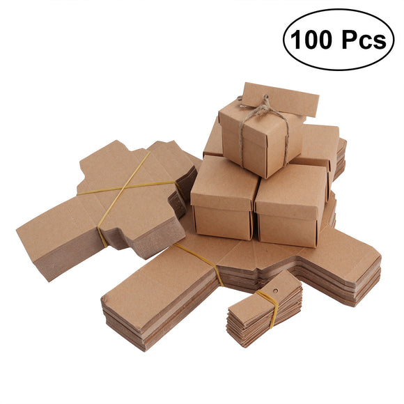 100pcs Kraft Paper Candy Boxes Vintage Treat Boxes Wedding Favors Candy Holder Bags Gift Boxes