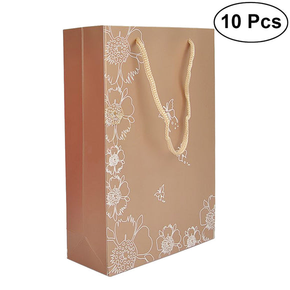 10Pcs Brown Kraft Paper Gift Bag Party Favors Handbag Shopping Bags with Handles