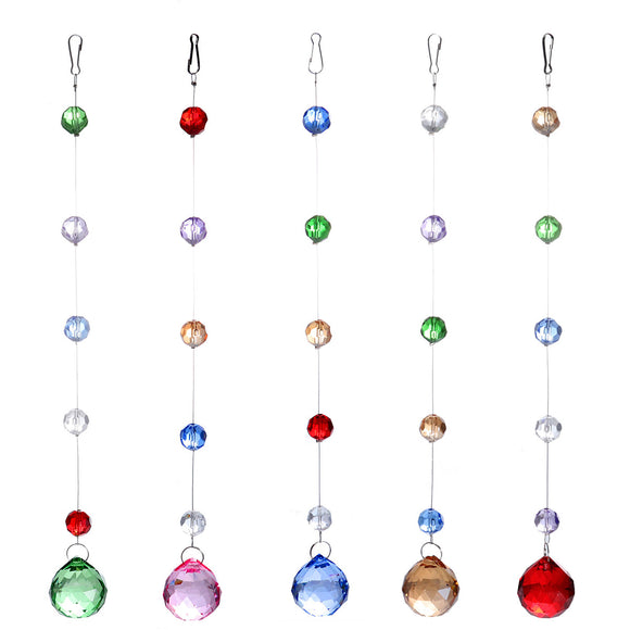 5Pcs 30cm Colorful Multicolored Diamond Cut Glass Crystal Curtain Decoration Beads Curtain