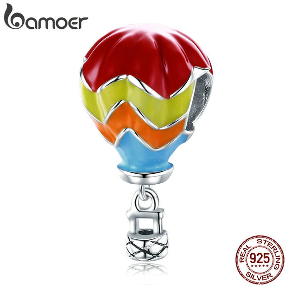 BAMOER 100% 925 Sterling Silver Turkish Balloon Turkey Ball Enamel Beads fit Charm Bracelets Sterling Silver Jewelry SCC867