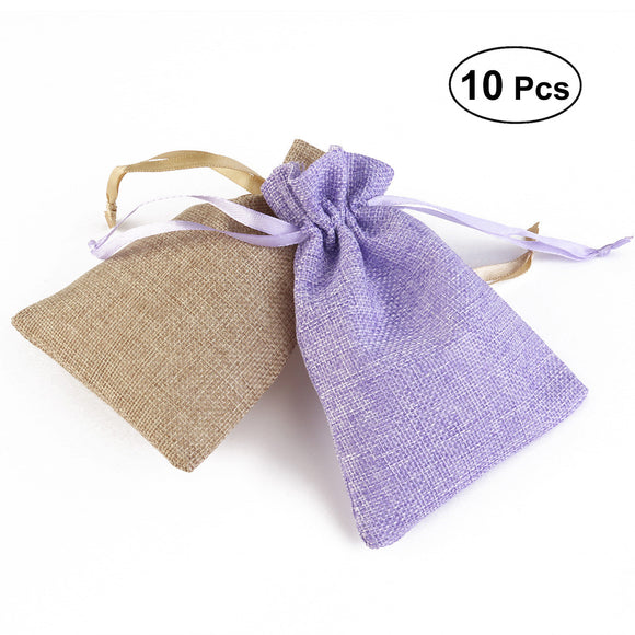 10Pcs Linen-like Drawstring Bag Cord Bag Storage Packing Bag Gift Favor Bag Wedding Party Candy Bag 14 x 18cm (Light Brown x5 and Purple x5)