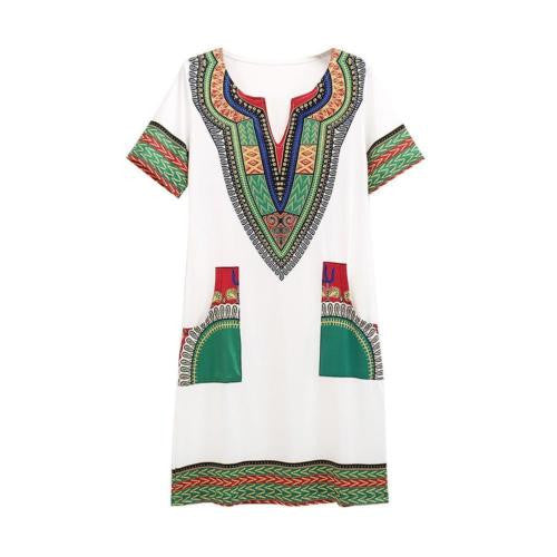 Women Summer Bodycon Dress Sexy Casual Sundress Party Plus Size Clothing Vintage African Print Dashiki Dresses