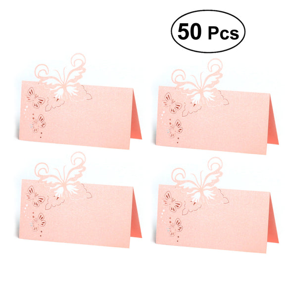 50pcs Butterfly Pattern Hollow Cut Table Cards Wedding Supplies Table Centerpiece Decorations Wedding Engagement Party Decor