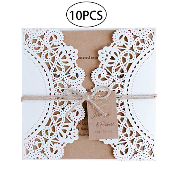 10Pcs Hollow Out Wedding Invitation Card Greeting Card Congratulation Card