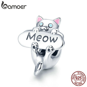 BAMOER Genuine 925 Sterling Silver Naughty Cat Beads Meow Cat Animal Charm fit Charm Bracelet DIY Jewelry Making Gift SCC874