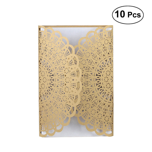 10pcs Hollow Flower Wedding Invitation Cards Card Paper without  Envelope for Engagement Wedding Marriage Birthday Bridal Shower Party