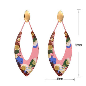 Individuality Graffiti Leaf-Shaped Exaggerated Earrings, Hand Made Geometric Alloy Earrings