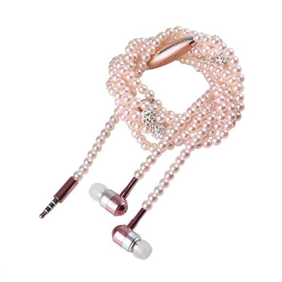 Elegant Pearl Necklace Wired Stereo Earphone with Mic For iPhone Samsung