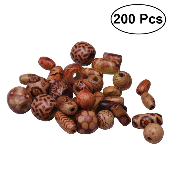 200pcs Various Shaped Printed Wooden Beads Loose Wooden Beads Round, Oval, Cubes, Tubular for Jewelry Making Craft Hair or DIY Bracelet Necklace(Multi Styles Multi Colors)
