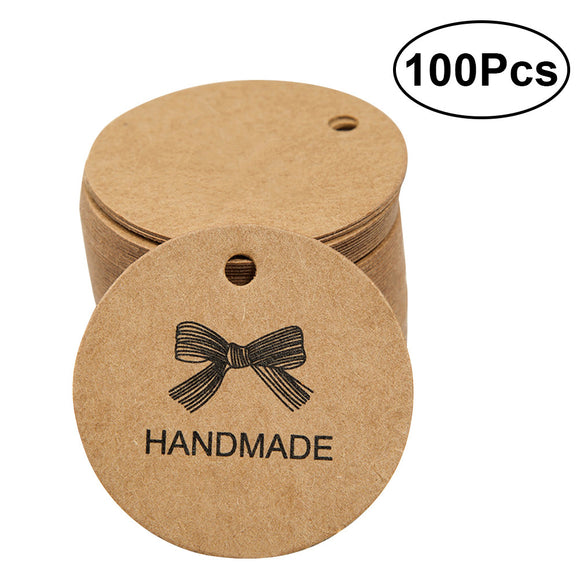 100pcs Handmade Kraft Paper Hang Tags Round Tags Wedding Hang Tags Craft Gift Tags