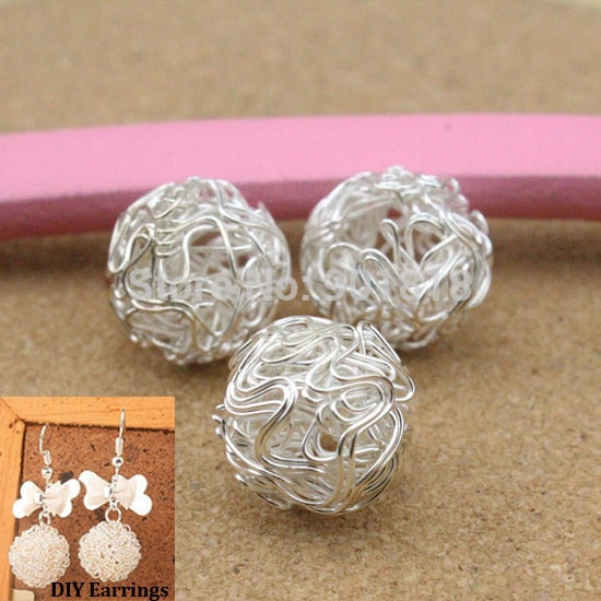 10 pcs /pack Fashion Hollow Out Ball Silver Color Dangle Earrings Beads Drops For Women Jewelry DIY Material Findings F1756