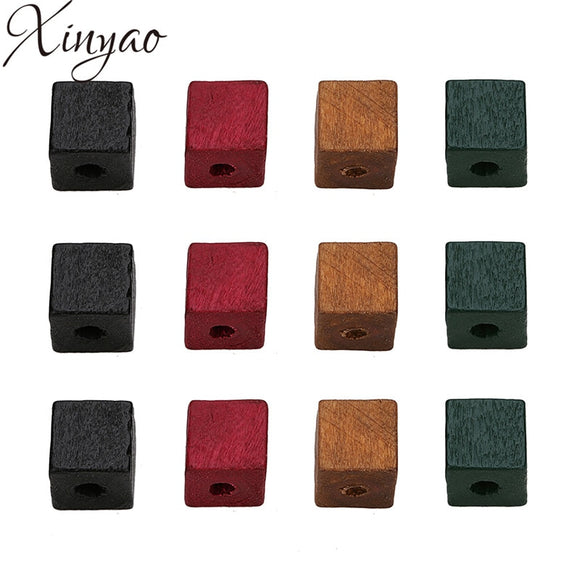 XINYAO 50pcs 12mm 14mm Red Green Black Color Natural Wood Beads Square Shape Spacer Wood Beads for DIY Craft Jewelry Findings