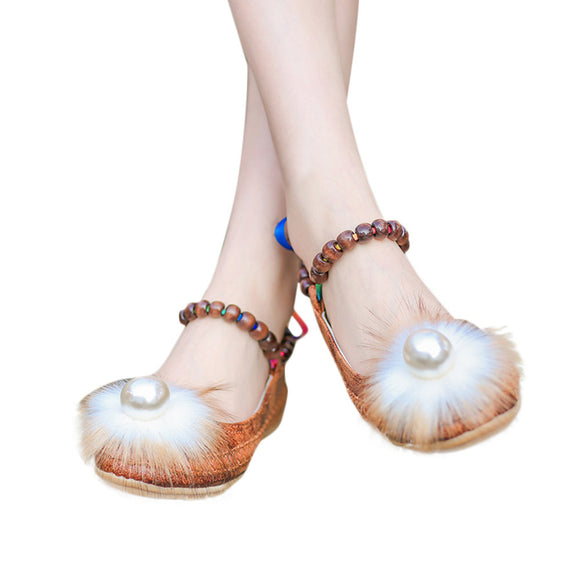 Women's Ladies Shoes Fashion Embroidered Pearl Ankle Flat Casual Shoes