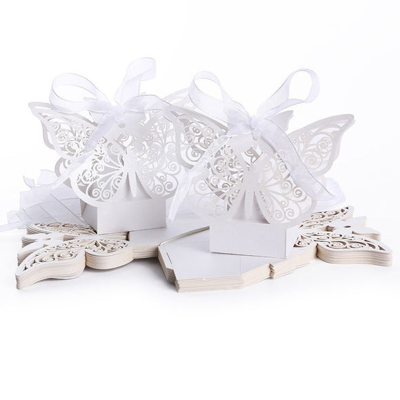 50pcs Hollow Big Butterfly Style Wedding Favor Candy Boxes Gift Boxes with Ribbons (White)