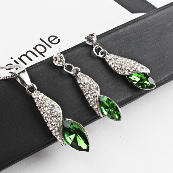 Women's Water Drop Pendant Necklace Ear Studs Suit Jewelry Ornaments