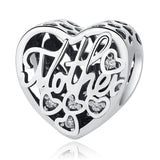 WOSTU 100% 925 Sterling Silver MOTHER MUM Heart Charms Fit Original Charm Bracelet Authentic Jewelry Accessories Making C395