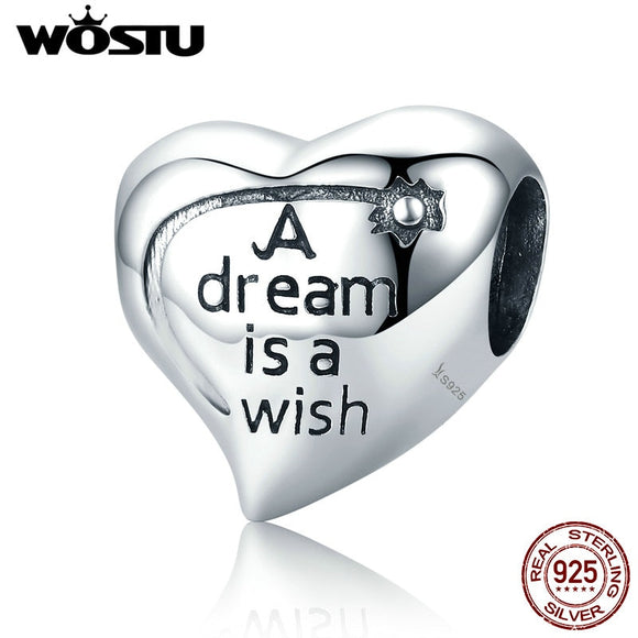 Hot Sale 925 Sterling Silver Steady Heart  Dream is Wish Charms Beads Fit Original Bracelet Bangle Fashion Jewelry C428