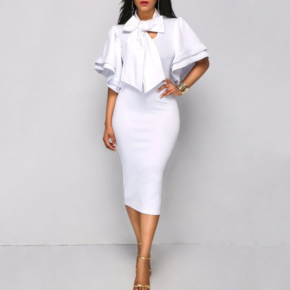 Women Bodycon Dress Bow Collar Sheath Butterfly Pagoda Sleeve Slim African Style Robe Office Lady Fashion Chic Elegant Vestidos