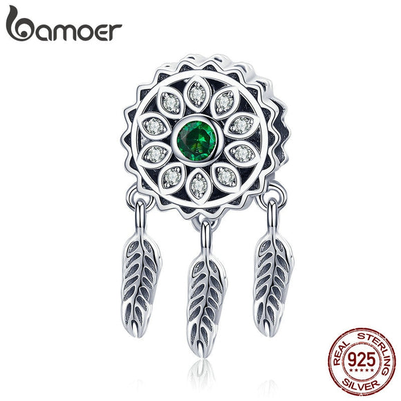 BAMOER Hot Sale 925 Sterling Silver Vintage Dream Catcher Charms Beads fit Women Silver Bracelets DIY Jewelry Making SCC893