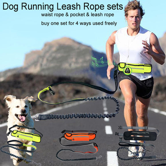 Dog Leash Rope Running Hands Free Reflective Pets Dog Leashes Walking Leash With Waist Bag Collar Rope for Dogs